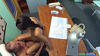 Lusty petite college age russian girl sits on doctors cock