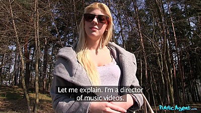 Attractive blonde  Elena picked up in the public park