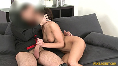 Audition handjob and oral with sexy brunette trying sex tape first time
