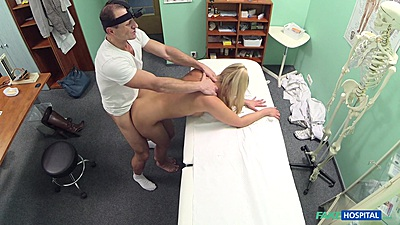 Kinky standing fuck with Barra Kristine engaging doctors cock during medical checkup