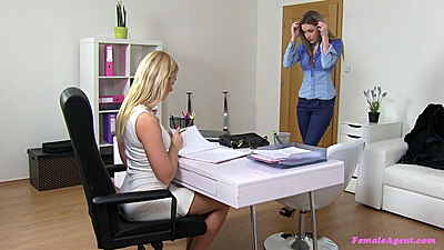 Female agent interview with full clothed Tracy and Angel P Angelina