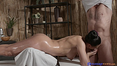 Russian milf Eva Ann cock sucking her male masseuse during massage