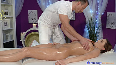 Barbara Bieber getting oiled and firm tits squeezed during massage