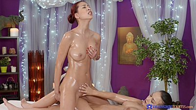 Oiled bodies lesbian pussy touching and rubbing off on each other Paula and Anina