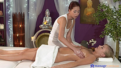 Female lesbian masseuse wearing tight yoga pants for oil massage with Paula and Cayla Lyons