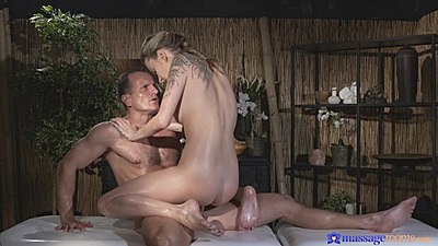 Cowgirl sex with inked nice behind girl Angel