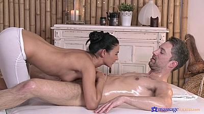Perky small boobs female masseuse in yoga pants Keira jerking man