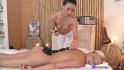 Hot stones massage with small chest chicks Ivy and Vera