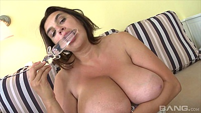 Large melons bbw girl Dark Lucy smells her toy