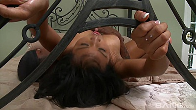 Black cock and a sweaty and very horny asian Lizzie fuck in bed