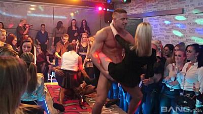 Slut gets banged by male stripper at vip club house