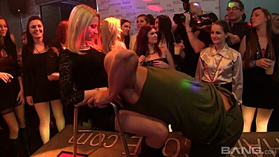 Male stripper shaking his goods at party gone crazy