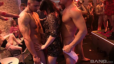 Dancing with two male strippers this horny slut wants a chance