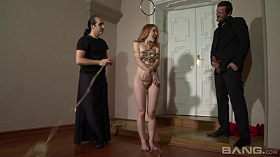 Submissive redhead girl Amarna Miller hogtied and then hung up for sex