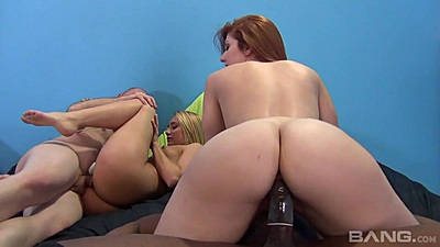 Nice round ass riding some black dick with white girls Charlys Bella and Rose Red and A.j. Applegate