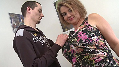 Busty mature lady Laura has a young buy undress her