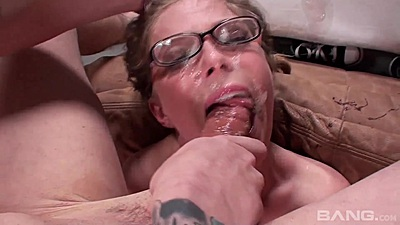 Sloppy deep throat with cum covered face whore Penny Pax