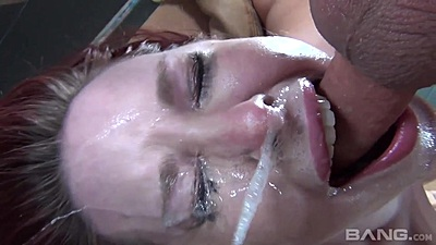 Facial cum dripping during sloppy deep throat and gagging Melody Jordan