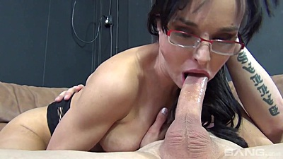 Cytherea giving head wearing glasses