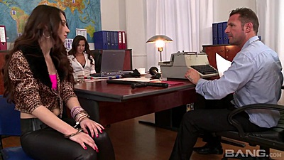 Threesome fully clothed teens Stacy Snake and Amirah Adara  get nasty in office