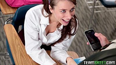 School girl Anya Olsen fully dressed and sucking off older teacher in class