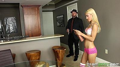Skinny blonde bombshell teen Uma Jolie comes on guy