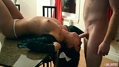 Zealous Shana Lane in quickie kitchen reverse blowjob on table