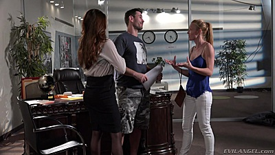 Stoya and Kayden Kross with Veronica Vain in office behind the scenes filming