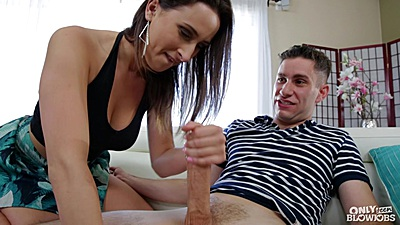 Immoral lade Ashley Adams giving handjob while dressed