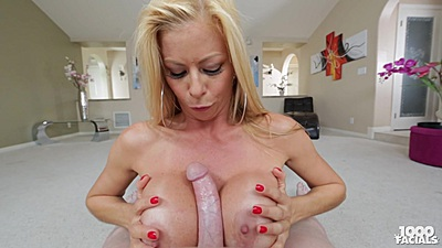 Titty fuck and oral with blonde sucker Alexis Fawx