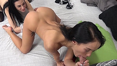 Cock sucking and 2 on 1 fuck with Aiden Ashley and Megan Rain