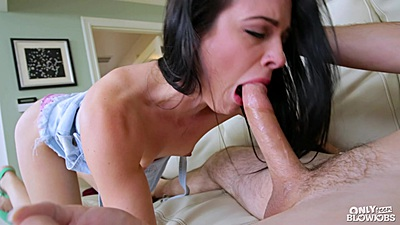 Deep throat and sucking with fantastic brunette Dallas Black and facial to finish