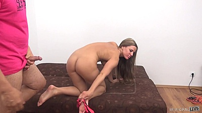 Athena quick to get her panties off for sex