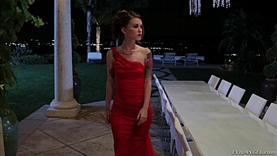 Sexy babe Misha Cross in hot dress going to a party
