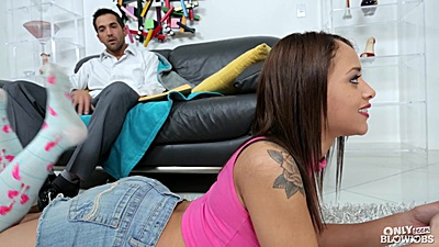 Holly Hendrix playing her video games and allows man to touch her