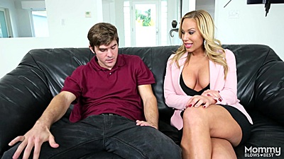 Blonde stepmom milf Olivia Austin gives head