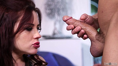 Redhead Jessica Ryan opening mouth for massive throating