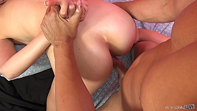 Doggy pussy ramming with hand held back Alexa Grace