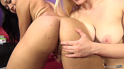 Allie Rae and Adriana Maya check out their asses and do 69