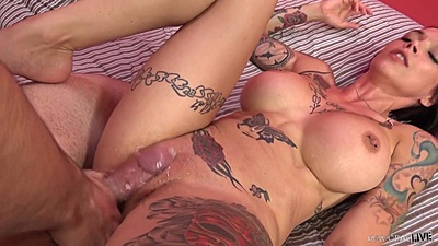Front sex in her bald vagina with open legs Anna Bell Peaks on bed