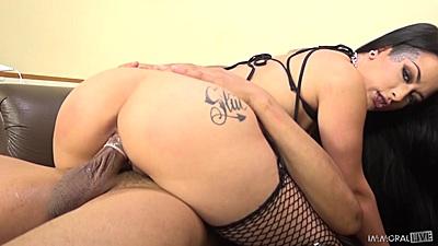 Nice black hose for an inked damsel Katrina Jade