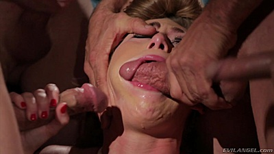 Deep throat and face fuck with rough sex gang banged whore milf Carter Cruise