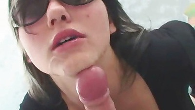 Nice public blow job job with cum all over her face