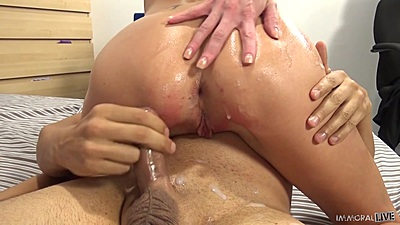 Silvia Saige milf riding cock and gets cumshot sprayed all over her ass