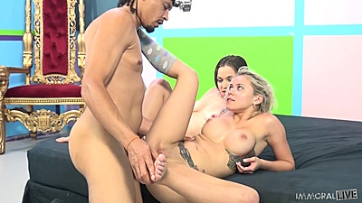 Busty 2 on 1 intercourse with Tiffany Star and Marsha May