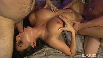 Reverse blowjob threesome milf wife Nikki Daniels craving two dicks