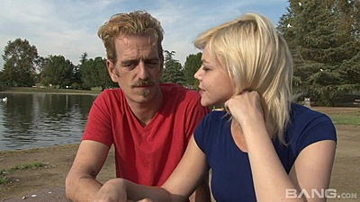 Blonde wife Alice Frost in public having a chat