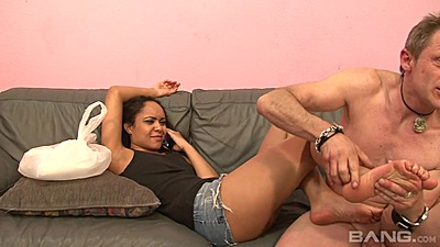 College latina Jaslin Diaz feet touched and footjob given