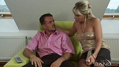 Blond full clothed Carmella gets touched