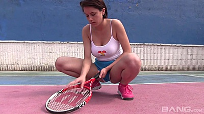 Tennis girl solo stripping and feeling up her shorts on court with Anabelle